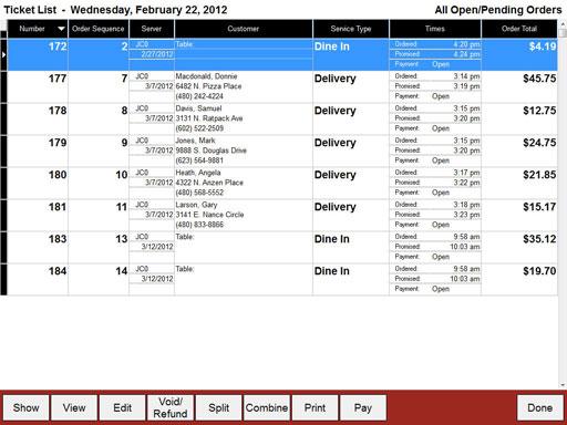 Restaurant POS System Ticket List