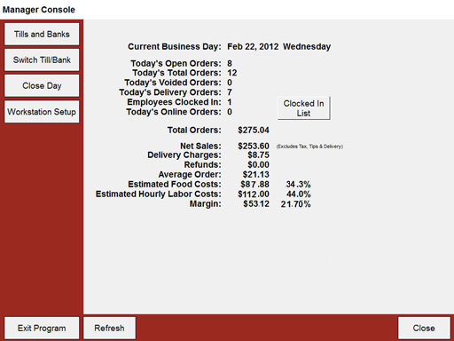 Restaurant POS Manager Console