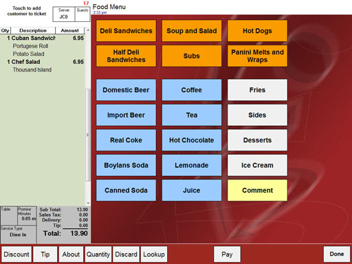 Restaurant software menu customization